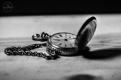 IMG_4756logo (Annie Chartrand) Tags: watch pocketwatch monochrome bw black white time numbers face dial jewelry wood chain hands