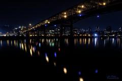 Portland Night Out (ExpressionOfJoy) Tags: marquambridge portlandoregon pacificnorthwest citylights citynightscape eastportlandnightshoot willametteriver nightlights nightshoot nightsky nikon tripod bridge river
