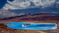 Surreal Color (ProPeak Photography) Tags: america blue blueskies clouds green landmark landscape moab nature northamerica orange places pool potashmine red rocks storms travel travelandtourism usa unitedstates utah water