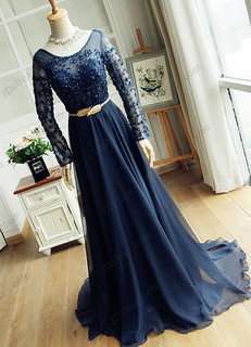 PD16043 Illusion beaded long sleeves blue chiffon prom gown
