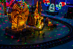 Miniature Christmas Fair (LachMH) Tags: canon 700d rebel t5i 1855mm lens long exposure lights christmas night nighttime holidays canberra cbr gordon miniature ferris wheel scene model santas workshop people