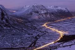 Glencoe Light Trails (Chris_Hoskins) Tags: wwwexpressionsofscotlandcom scottishlandscapephotography scotland winter glencoe dawn scottishlandscape bluehour beinnachrulaiste rivercoupall lighttrails scottishwinter landscape