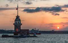 Bosphorus, Maiden Tower and the setting sun... (Aleem Yousaf) Tags: bosphorus maiden tower setting sun sunset kiz kulesi uskudar istanbul blue mosque nikon d800 2470mm photo walk photography water turkey outdoor boat tourists historical monument clouds sky