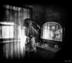 reflection of life . . . (YvonneRaulston) Tags: australia nsw sydney botany window mirror reflection dresser lady girl woman atmospheric art creativeartphotography emotive texture person fineartgrunge impressionist bokeh light moody moments morning old sony monochrome blackandwhite black blackwhite white bw photoshopartistry surreal soft