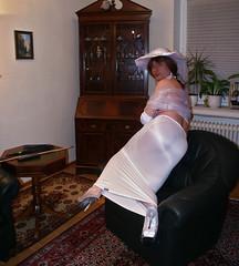 Glossy Bum (chantal_fouet) Tags: tv cd tg stockings nylon sheer lycra spanking cane bum spandex