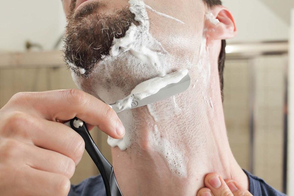 straight shaving beard with shaving crea by yourbestdigs, on Flickr