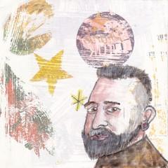 # 235 2017-12-24 (h e r m a n) Tags: herman illustratie tekening 10x10cm tegeltje drawing illustration karton carton cardboard kunst art kerstmis christmas portret portrait male man snor baard moustache beard