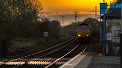 9Y0A7015 (kevaruka) Tags: class 66 freightliner gbrf 66506 66765 fiskerton station nottinghamshire twilight autumn 2014 november canon eos 5d mk3 70200 f28 is mk2 5d3 5diii sun sunshine sunny day sunset trains train coal flickr front page freight thephotographyblog ilobsterit england united kingdom great britain uk europe british rail network vehicle road outdoor locomotive railroad