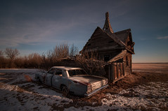 Wasted Years. (Explored) (Fistfulofpowder) Tags: abandoned alberta photo argus dawn light sun morning sky blue clouds nd110 daytime longexposure nikond300s