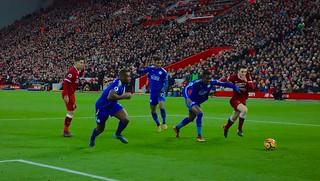Andrew Robertson battles with Daniel Amartey, Liverpool v Leicester City, Premier League, December 2017