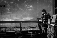 Alone at the coffeeshop (Sean Lancaster) Tags: fe 8518 sony a7rii mirrorless emount sonya7rii rowster coffee coffeeshop grandrapids wealthystreet bw blackandwhite foggywindows