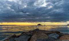 Cloudy Dawn Seascape (Merrillie) Tags: daybreak landscape nature dawn mountains water newsouthwales sea nsw sun batemansbay beach ocean southcoast waterscape scenery coastal island sunrise seascape australia coast clouds snapperisland