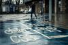 CS3 (Sean Batten) Tags: cs3 streetphotography street london england unitedkingdom gb rain blue words sign person city urban eastlondon westferry nikon df 58mm