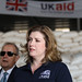 Penny Mordaunt sees UK aid for Yemen in a WFP warehouse in Djibouti