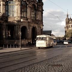 Dresden (Bernhardt Franz) Tags: dresden 2012 historische kraftfahrzeuge buildings facades architecture cobblestone street bus car sky colour schienen strasenbahn