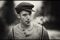 Only the Gentle are Ever Really Strong   -James Dean (fehlfarben_bine) Tags: nikondf nikon850mmf14 man portrait smoking smoke snowflakes snowing monochrome expression mood berlin vintage dude
