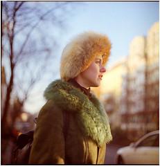 .I have been frozen here for days with headlights reflecting in my face (Herr Benini) Tags: berlin winter kiev88 analog film 120 6x6 mediumformat portrait woman kreuzberg