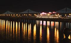Bay Bridge (shishirmishra1) Tags: city architecture sanfrancisco bridges oakland bay night long exposure light