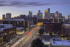 7th Street into Minneapolis (Sam Wagner Photography) Tags: winter twilight long exposure 7th street downtown minneapolis minnesota midwest america united states skyline skycrapers building traffic transit transportation city cityscape urban blue hour tunnel motion blur wide angle architecture