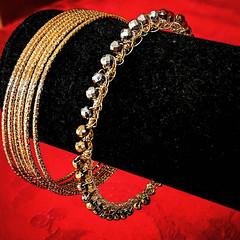 Solstice Gold Bangle Igram (vashtirama) Tags: designingvashti crochetjewelry bangle crochetbracelet coveredring beaded beads