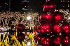 Christmas in NYC (jomak14) Tags: 2017 christmasinnyc leicadgsummilux25f14 microfourthirds olympusep2 giantchristmasornaments reflection