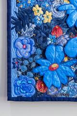 Blue flowers 9 by Liz Steveson - photo Bob Green (Bob Green 52) Tags: lizsteveson artwork wall hanging wallhanging adelaide australia needle work
