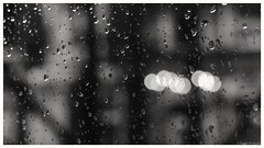 Rain drops & light bubbles (frankdorgathen) Tags: blackandwhite monochrome rain drop light bubble abstract indoor window essen ruhrgebiet