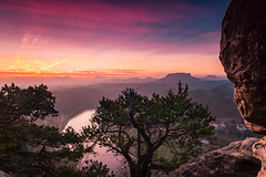 Why it can be worth it to get up early (sconi piladi) Tags: sächsischeschweiz canon 5d mark iii eos 2470 sigma bastei elbe river fluss morgen morning blue hour blaue stunde lilienstein landscape germany rocks felsen colours colors sunrise winter saxonian switzerland