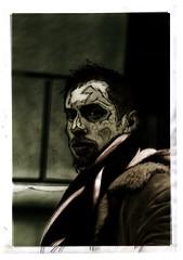 "Fine Art student - February 2001 (David Ian Ross) Tags: selfportrait penink c41 vanityproject ""artstudent"" manhattan east77thst newyork reworked tinted scribble vanity february 2001 35mm xp2 400 portrait olympus trip35"