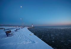 Bronte Pier at Blue Hour (Gavin Edmondstone) Tags: bronteharbour lakeontario brontecreek bluehour oakville ontario snow ultrawideangle laowa75mm cans2s