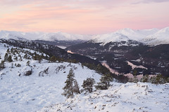 Glen Affric - Before the Sun Rises (Donald Beaton) Tags: uk scotland highlands glen affric carn fiaclach snow winter january 2018 landscape scene scenery view viewpoint forest mountain hill sony a7 canon fd
