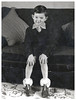 MY BIRTHDAY SLIPPERS 1957 (JOHN MORGANs OLD PHOTOS.) Tags: vintage found photo the england white your uk unusual unitedkingdom unknown unique up interesting in is infant old on of photos photographer people and album different family for guess hat johnmorgan kissing location looking ladies child children vintagephoto bw black british name no new names national man birthday slippers 1957