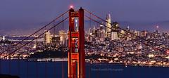 Holiday Lights : Golden Gate , San Francisco (sb_clckr) Tags: goldengatebridge goldengate sanfrancisco california holidaylights holidays citylights cityscape sanfranciscoskyline transamericapyramid salesforcetower coittower baybridge sfbayarea bluehour threadtheneedle