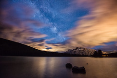 Then the Clouds Parted (Kristin Repsher) Tags: alberta banff banffnationalpark canada canadianrockies d750 longexposure milkyway mountrundle mountains nightphotography nightsky nikon rockies rockymountains starrysky stars twojacklake