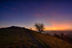 Malvern dusk HDR (Gwenael B) Tags: tree hill landscape sunset malvern moon cresent orange blue nikond5200 tokinaaf1120mmf28 path colorful colline coucherdesoleil couleurs paysage wide angle wideangle hdr dusk