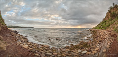 It's a bay (JustAddVignette) Tags: australia cliff clouds dawn hightide landscapes newsouthwales newport northernbeaches ocean panorama rockpool rocks seascape seawater sky sunrise sydney water