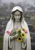 Foggy Cemetery in Baltimore (crabsandbeer (Kevin Moore)) Tags: fog foggy mist rain weather graveyard cemetery grave gravestone statue flowers mary mothermary catholic veil moody color death dying afterlife baltimore stilllife artificialflowers memorial