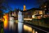 Heure bleue sur le canal vert (Didier Bottin) Tags: belgique belgium bluehour bruges cityscape groenerei heurebleue canal vert brugge vlaanderen be