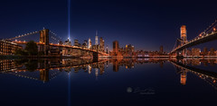 Pano of Manhattan in the memorial day, tribute lights at night, New York (Daniel Viñe fotografia) Tags: new york city tribute night brooklyn lights skyline light bridge downtown east manhattan world river center trade memorial colorful 911 usa nyc september 11 bright zero