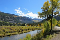 Lake Fork of the Gunnison River (Patricia Henschen) Tags: alpineloopscenicbyway alpineloop scenicbyway mountains mountain sanjuan sanjuanmountains lakecity colorado leafpeeping autumn fallcolors riograndenationalforest aspen scenichistoric byway lakefork clouds pathscaminhos
