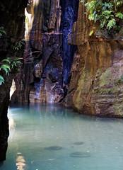 Pale Blue (LeftCoastKenny) Tags: madagascar isalo isalonationalpark day10 cliff ferns waterfall pool stones