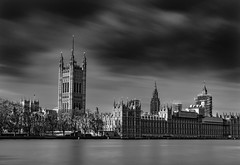 The State of the Nation - Palace of Westminster Under Heavy Repairs (London, UK) (magpiedom) Tags: westminster thames river london uk parliament houses england english long exposure ndgrad 16stop filter gitzo tripod southbank black white bw nikon 35mm f18 d5300 capital water smooth reflection cloudy cold palace housesofparliament