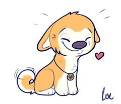 Treasure (Rexros) Tags: rex rexro rexroart art artwork custom chibi canine dog doge puppy collar sl secondlife cute cartoon illustration sai painttoolsai sketch