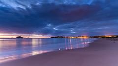 Dawn Seascape (Merrillie) Tags: daybreak landscape nature dawn mountains water newsouthwales sea nsw sun batemansbay beach ocean southcoast waterscape scenery coastal island sunrise seascape australia coast clouds snapperisland bush
