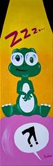 Vision d'ensemble du tableau (fannytondeur) Tags: acrylic painting peinture acrylique illustration cartoon dinosaur dinosaure chewinggum bubble bulle glasses lunettes sleeping endormi lumière light funny drôle marrant strange étrange jaune yellow vert green pink rose question