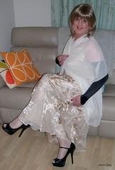 Contented (janegeetgirl2) Tags: transvestite crossdresser crossdressing tgirl tv ts monsoon acapulco silk evening dress heels glamour chiffon shawl stilettos high black acetate lining jane gee cowl neck opera gloves