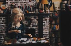 near the fireplace I (AzureFantoccini) Tags: bjd balljointeddoll doll dollhouse house diorama stuff supia jiin chloe fireplace room miniature interior christmas