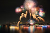 Winter fireworks in Odaiba. (cate♪) Tags: fireworks rainbowbridge daiba reflections ships
