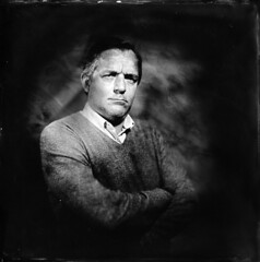 Georges on wetplate (Collodion) ([Eric OLIVIER]) Tags: portrait photography blackandwhite largeformat wetplate collodion process alternativ seagull camera carlzeissjena 19cm collodionhumide