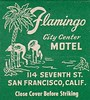 Flamingo City Center Motel  San Francisco Matchcover Front (hmdavid) Tags: vintage matchbook matchcover midcentury art illustration california flamingo citycenter motel sanfrancisco front 1950s